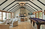 Outstanding Billiard Room Designs For Family : Outstanding Billiard Room Designs With A Futuristic Billiards Table That Will Steal The Attention From Everything Else In The Room With Cotemporary Living Room Decoration And Parquet