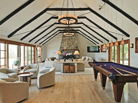 Outstanding Billiard Room Designs For Family: Outstanding Billiard Room Designs With A Futuristic Billiards Table That Will Steal The Attention From Everything Else In The Room With Cotemporary Living Room Decoration And Parquet