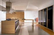 Remarkable Decorated Italian Kitchen Urban Design Ideas : Outstanding Decorated Italian Kitchen Urban Design Ideas With Grey Floor Station Wooden Floor Simple Wooden Italian Kitchen Island Urban And Great Glass Wall