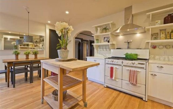 Charming Contemporary Kitchen Design: Outstanding Large Wooden Kitchen Design With White Kitchen Cabinet Alongside Washbasin Metal Stove With Large View High Vase On Ten Kitchen Island With Parquet