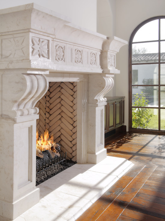 Outstanding Prefabricated Wood Burning Fireplace: Outstanding Mediterranean Living Room Prefabricated Wood Burning Fireplace Lightcreating A Beautiful Backdrop With Bricks Laid Out In A Herringbone Pattern Interesting Brick Pattern In Fireplace