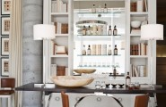 5 Best Home Bar Designs : Outstanding Remarkable House With A Bar With Drinks Cabinet Withwarnm White Lights With Simple Black Table With Cute Bar Stools With Curtains With Wooden Flooring