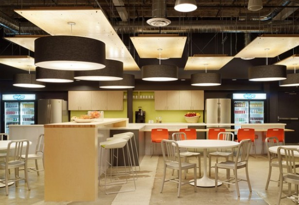 Unique Office Interior Design Ideas To Promote Working Mood: Outstanding Skype Office Interiors Open Work Areas With Great Flooring Design Ideas And Wooden Dining Set ~ stevenwardhair.com Bookshelves Inspiration