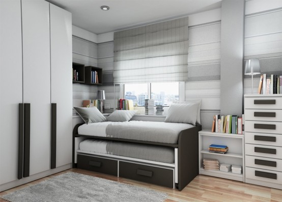 Cozy Compat Bedroom Style For Teenage: Outstanding Small Compact Bedroom With Comfortable Simple Sleeping Bed And Drawers Decoration White Closet With Black And White Cabinet Accessories Design And Hanging Cabinet Parquet