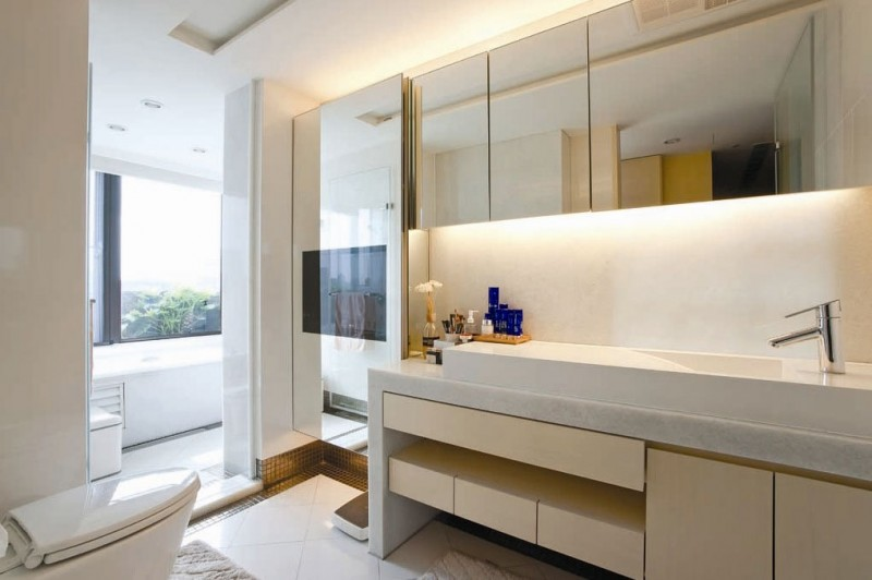 Sleek Modern Living Room White Minimal Apartment: Outstanding Washbasin Faucet Modern Living Room With Elegant Marble Floor Design And Water Closet Large Glasses Window Hidden Lamps
