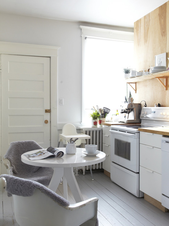 Design Decorating Pale Grey Floor In Otherwise White Kitchen Wood