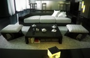 Cotemporary Picture Perfect Living Room Design for City Living : Perfect Living Room Design WithModern Stripped Dot Sofa Black Polished Table Grey Rug Cube Sitting Lamp Comfortable Living Room Ideas