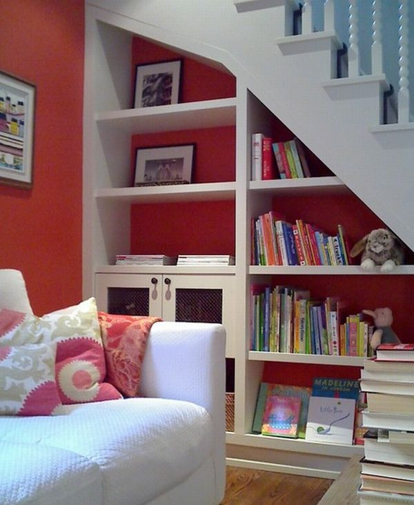 Utilizing Under the Stairs Space For Effective And Ergonomic Use of Storage: Perfect Lovely Under The Stair Storage Design For Effective And Ergonomic Use Of Storage With Smart Storage Shelf In White And Red