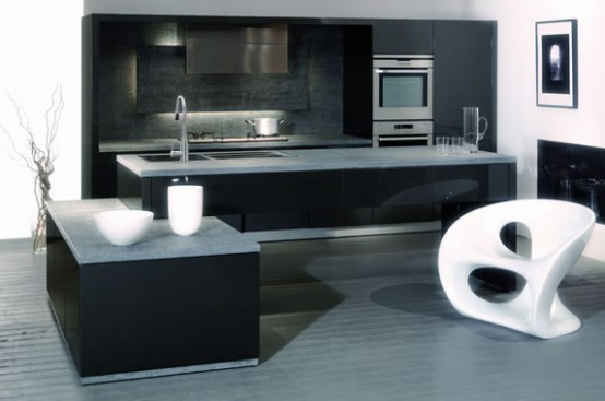 Black & white kitchens: Perfect Small Kitchens Cleverly Designed Black And White Kitchen Design Ideas Beautiful Lighting White Stools ~ stevenwardhair.com Chairs Inspiration