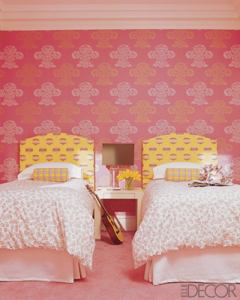 Pink and green girls bedroom ideas: Pink Twin Girl Bedroom Artistic Wallpaper