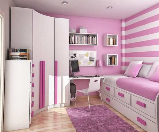 Cozy Compat Bedroom Style For Teenage: Pinky Colored Small Compact Bedroom With Comfortable Simple Sleeping Bed And Drawers Decoration White Closet With Pink Cabinet Accessories Design And Hanging Cabinet Fur Rug 3