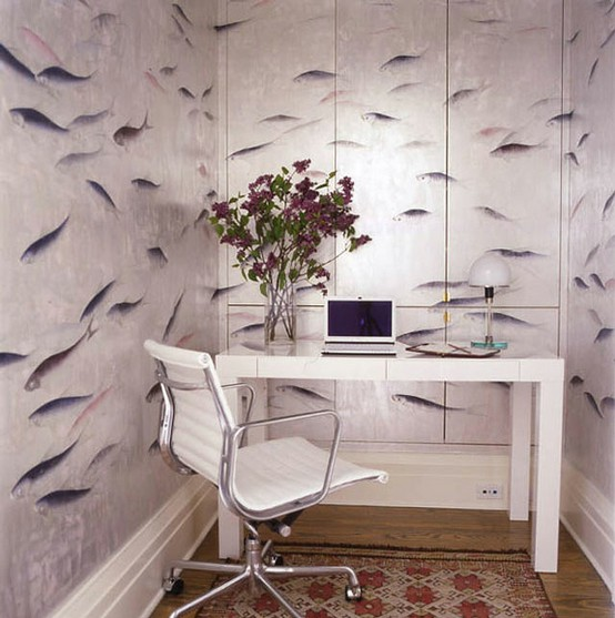 Polished Interesting And Functional Home Office Design: Polished Eye Catching And Functional Home Office Small With Hilarious Wallpaper And Modern White Desk And Glass Vase Decoration And Chair