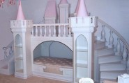 Pink and green girls bedroom ideas : Princess Castle In A Room With Round Stairs