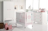 Stunning White Theme Baby bedroom Furniture Concept : Pure Stunning White Theme Baby Bedroom Furniture Design Ideas Nursery Interior Mobile Crib Cute Baby Furniture Vintage Wardrobe