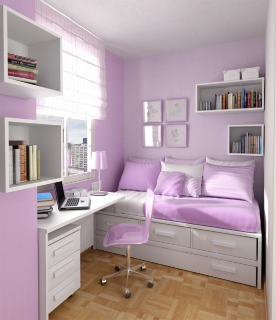 Inspiring Custom Bunk Bed Designs for your Love : Purple Colored Themed Simple Solution Of Bunk Beds For Kids Designed For Safety Durability And Stylewith Study Rooms Saving Ideas Bunk Bed Two Dressers Desk Chair And Wicke