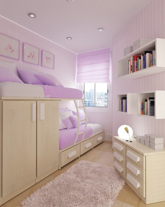 Inspiring Custom Bunk Bed Designs for your Love: Purple Solution Of Bunk Beds For Kids Designed For Safety Durability And Style With With Study Rooms Saving Ideas Bunk Bed Two Dressers And Wicker Bookcase With Fur Rug