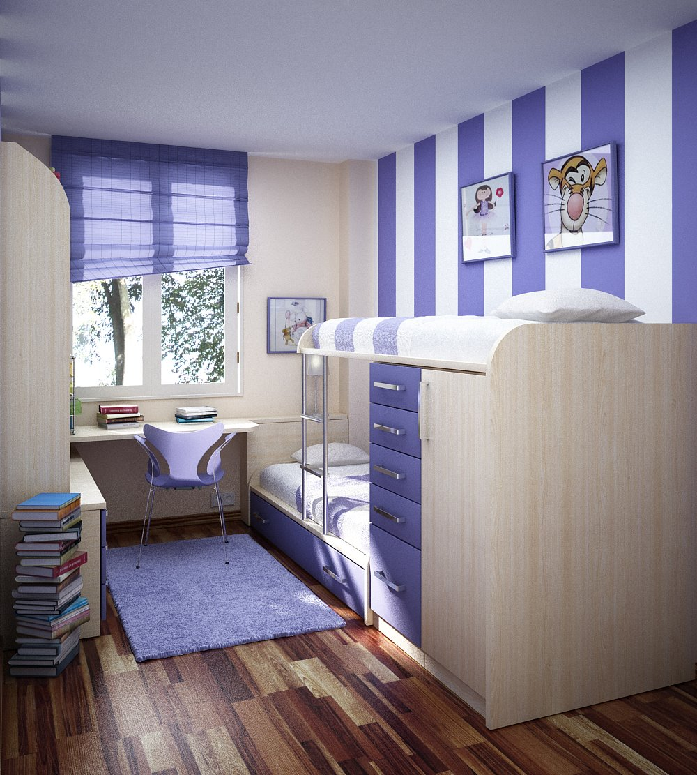 Room color ideas for teenage girls: Purple Stripe Bold Wallpaper Fresh Simple Bunkbed Drawers Cabinet Desk Teen Room With Wooden Floor