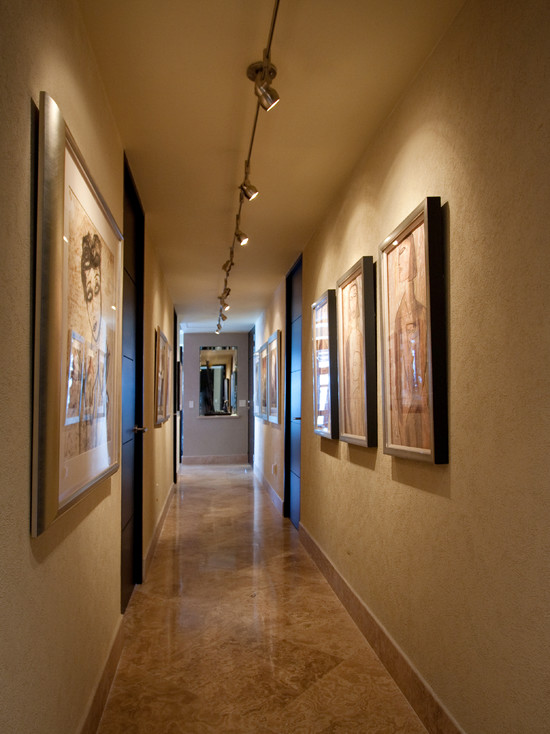 Rail Lighting Designs for Your Home: Rail Lighting At Contemporary Hall Corridor Marble Floor