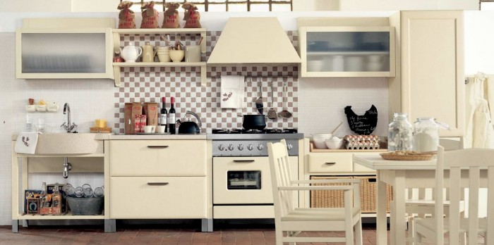 How to Jazz Up Your Family Gathering With an Italian Style Kitchen Design : Rangehood Washbasin Faucet Dining Table Kitchen Cabinet