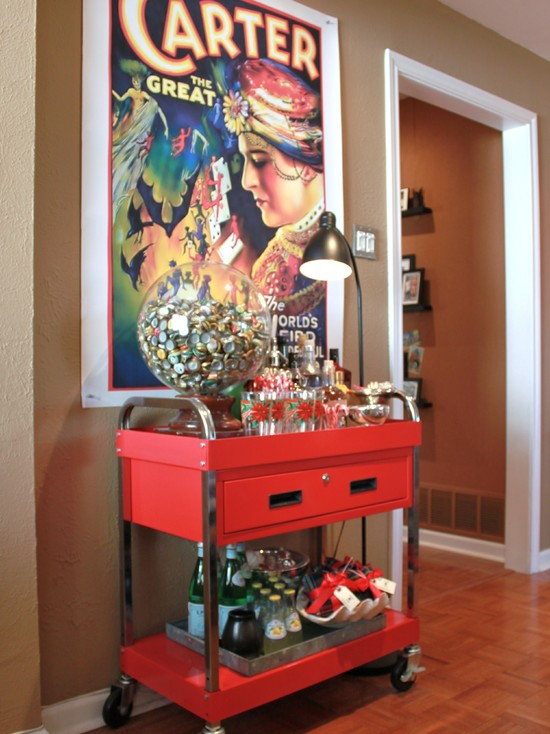 Amusing Rolling Cart For Kitchen: Re Purposed A Rolling Tool Cart Into A Rolling Cocktail Bar At Eclectic Family Room With Locking Drawer