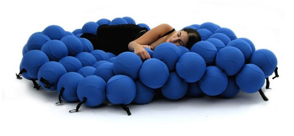 All Kind Of Most Creative And Unique Sofa Design: Really Cool And Unusual Shape Is Inspired By A Molecular Structure Of Most Creative Feel Sofa Design That Made Of 120 Sofa Balls Covered With Blue Elastic Fabric