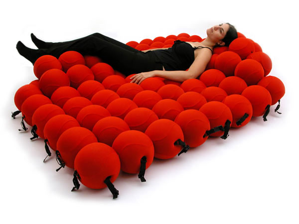 All Kind Of Most Creative And Unique Sofa Design: Really Cool And Unusual Shape Is Inspired By A Molecular Structure Of Most Creative Feel Sofa Design That Made Of 120 Sofa Balls Covered With Red Elastic Fabric