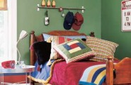 Cool Ways To Decorate A Room : Red Bed With Steel Bedlamp Rugby Styled Boys Bedroom