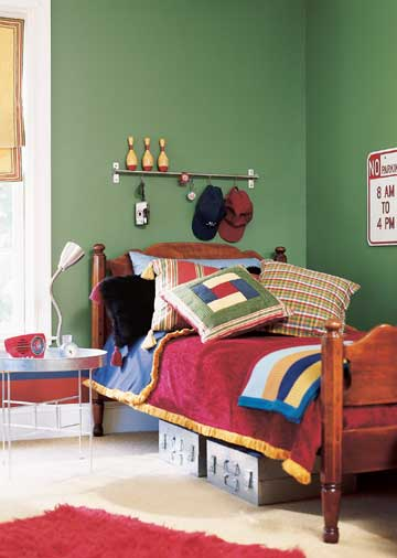 Cool Ways To Decorate A Room: Red Bed With Steel Bedlamp Rugby Styled Boys Bedroom