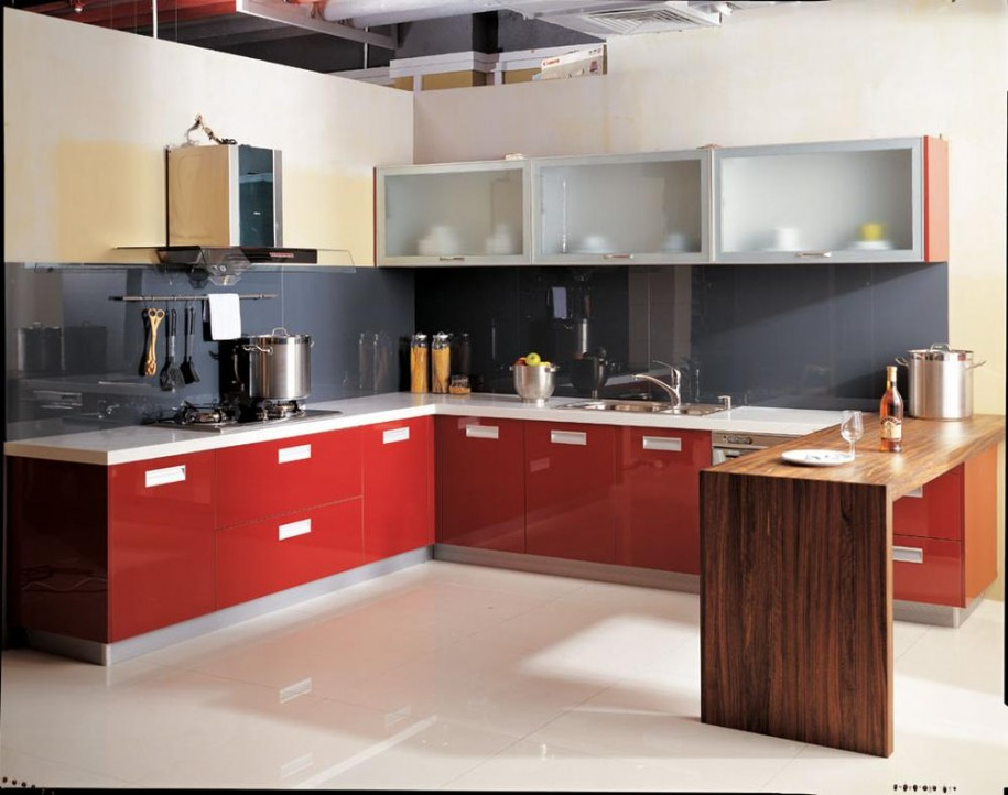 Rustic Elegant Kitchen Appliances Made From Stainless Steel: Red Counters Frosted Glass Cabinet Tainless Steel Modern And Minimalist Kitchen Appliances Shelves With Wooden Table