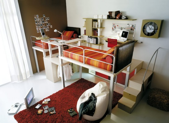 Colorful Bright Teenage Loft Bedrooms: Red Teenage Loft Bedroom With Two Staircace Bedroom With Fun And Cute Bed With Beatuful Sofa Bed And Study Desk And Fur Rug Carpet ~ stevenwardhair.com Bed Ideas Inspiration