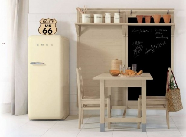 How to Jazz Up Your Family Gathering With an Italian Style Kitchen Design: Refrigerator Simple Wooden Dining Table 2 Simple Wooden Chairs Spicey Pots Spicey Rack ~ stevenwardhair.com Kitchen Designs Inspiration