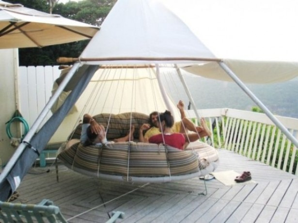 Breathtaking Relaxing Outdoor Hanging Bed Design Ideas: Relaxing Cozy Outdoor Round Hanging Bed Sturdy Enough To Hold Three Adults Tent Design On The Porch Overlooking Green Valley ~ stevenwardhair.com Bed Ideas Inspiration