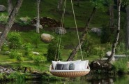 Outstanding Outdoor Hanging Beds For Your Home : Relaxing Outdoor Round Comfortable Hanging Bed With Lush Throw Pillows Above The Lake Or Pond Tranquil Breezy Childhood Dream
