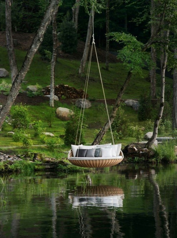 Outstanding Outdoor Hanging Beds For Your Home: Relaxing Outdoor Round Comfortable Hanging Bed With Lush Throw Pillows Above The Lake Or Pond Tranquil Breezy Childhood Dream ~ stevenwardhair.com Bed Ideas Inspiration