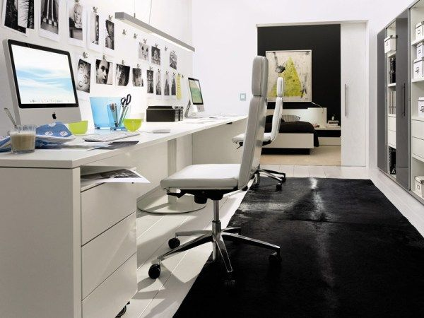 Captivating Modern Home Office Design Ideas : Remarkable Black And White Themed Home Office Design With Desk Swivel Chair Laptop Square Pendant Lamp Wall Decor Cabinet Black Area Rug Wooden Flooring Sliding Door Beside Bedroom Ideas