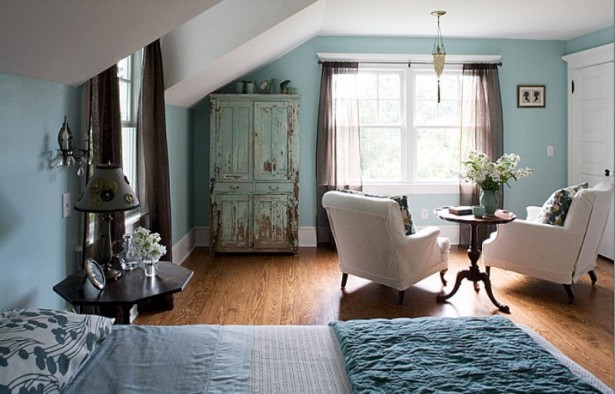 Breathtaking Blue And Gray Bedrooms For Romantic Person: Remarkable Blue And Gray Bedrooms With Beatutiful Tea Table Arms Chairas Vintage Cabinet Currtain Bay Window Nice Cozy Bed With Astoning Pendant ~ stevenwardhair.com Bed Ideas Inspiration