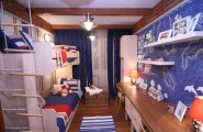 Innovative Boys Room Decoration with Unique Ideas : Remarkable Boys Room Designs Ideas Neutical Theme Bunk Bed Wooden Flooring Hanging Cabinet And Blue Curtain