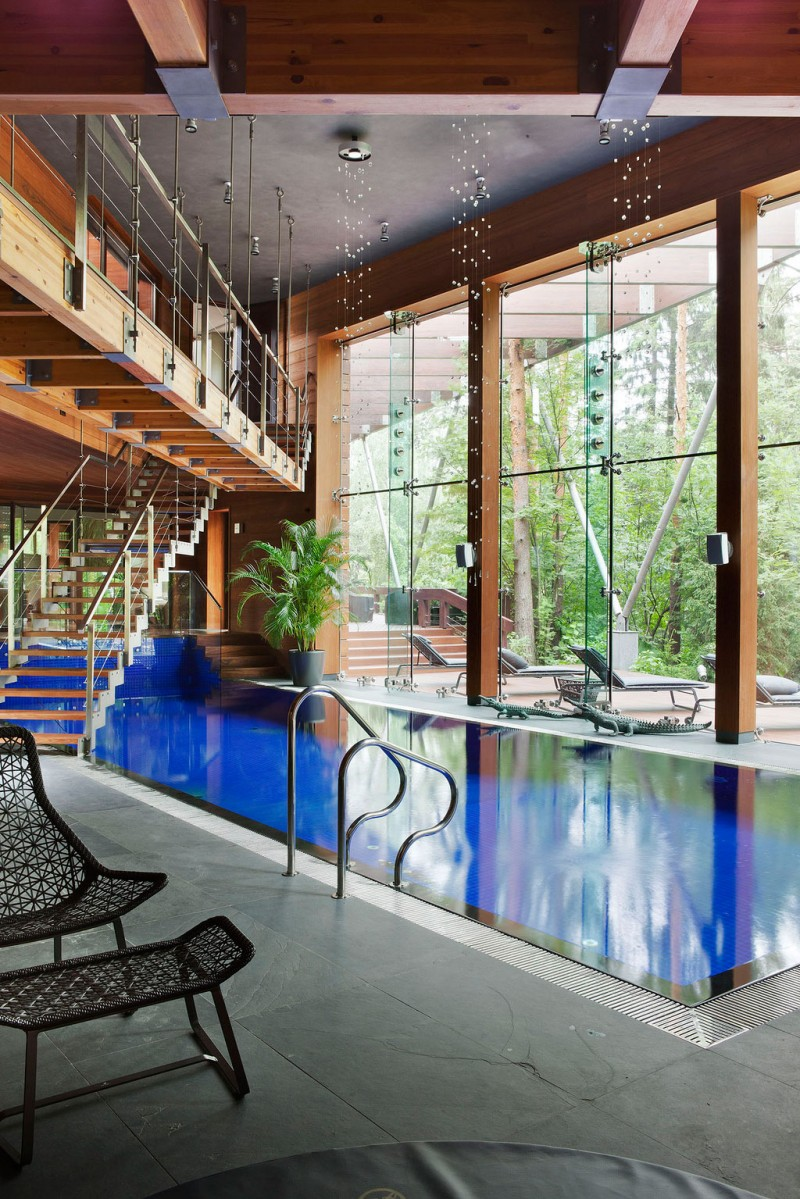 Fabulous Glass And Metal Decoration For House Interior Design Ideas : Remarkable Indoor Swimming Pool Large Bright Glasses Wall Outdoor Modern Lounge Staircase Nice Outdoor View
