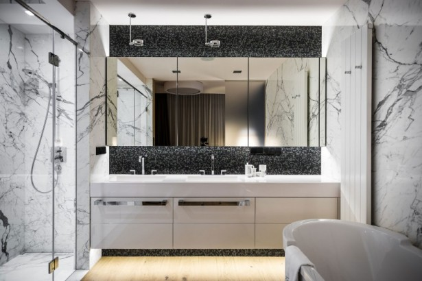 Luxurious Bathroom Designs For Apartments Ideas: Remarkable Luxury Bathroom Design With Marble Wall And Black White Mosaic Glass Backsplash With Large Mirror And White Hanging Cabinet With Wooden Flooring And Lighting Ideas ~ stevenwardhair.com Apartments Inspiration