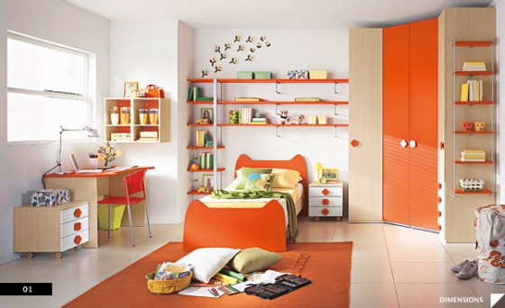 Amazing Trendy Bold Color Comfy Kids Room: Remarkable Modern Cute Bold Bright Pretty Orange And White Kids Bedroom With Wall Shelves And Stickers To Add Accent Fur Rug Marble Floor Design Wood Orange Study Desk