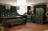 Unique And Innovative Kitchen Concepts Ideas : Remarkable Unique And Innovative Steam Punk Kitchen Island In Luxury Wooden Flooring And Black Cabinetry Kitchen Design With Unique Pendant Lights And Mirror With Round Window Ideas