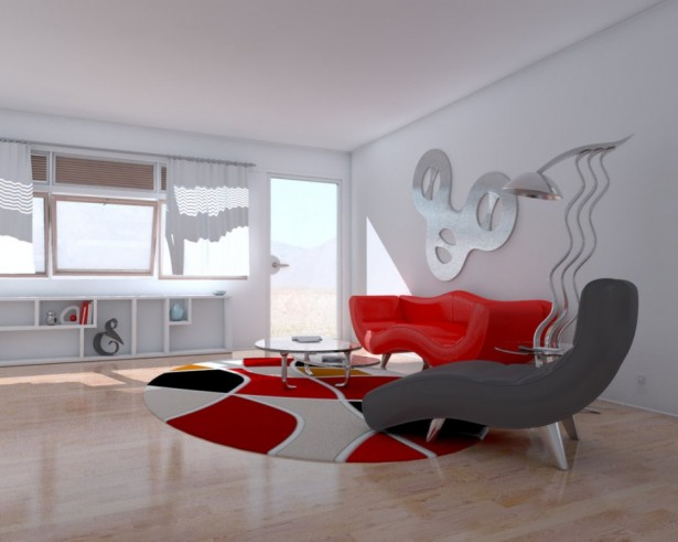 Remarkable White Painted Wall Living Room With Breathtaking Laminated Floor Design And Great Interior Design With Unique Rug And Inspiring Wall Decor