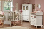 Stunning White Theme Baby bedroom Furniture Concept : Remarkable White Theme Baby Bedroom Furniture Design Ideas Traditional Wood Cute Baby Furniture Flower Curtain Round Mirror