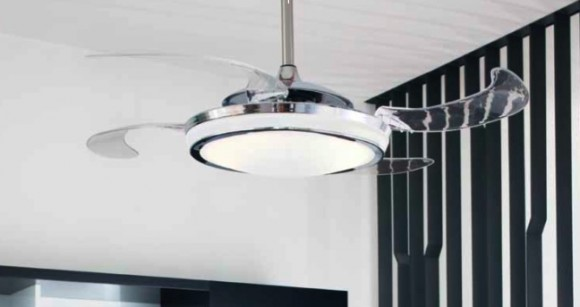 Fascinating Modern Ceiling Fans Design : Retractable Blades Ceiling Fan With Lamp Design