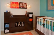 Inspiring Modern Nursery Ideas For Boys : Retro Nursery Design With Bright Color Functional And Modern With Accent Wall