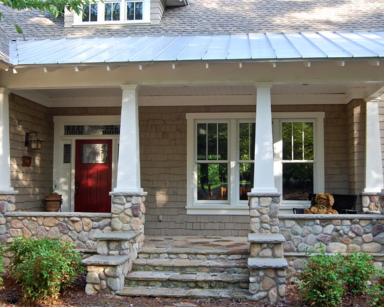 Beautiful Rock Siding for Houses : Rock Siding For Houses At Traditional Porch With The Rock Steps And Half Way