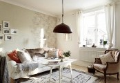 A Fashion Design Apartments Model : Romantic Cool White Stockholm Apartment With Shabby Chic Touches With Balck Pendant And White Bright Wallpaper