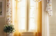 Amazing Popular Modern Windows Curtain Style : Romantic Cozy White Brown Floral Decor Curtain Designs For Windows And Green Plant Decoration
