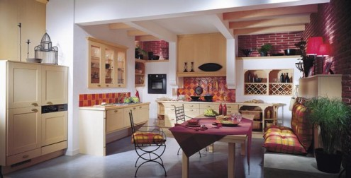 Striking Wooden Furniture In A Lustrous Kitchen : Romantic French Style Kitchen With Simple Dining Table And Chair Set And Magenta Color Touches As Accent