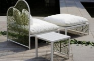 Romantic Garden Furniture And Refined Design : Romantic Garden Furniture And Refined Design With Lazy Chair Furniture With Whie Wooden Tea Table Also Expose Laminated Wood Floor Design